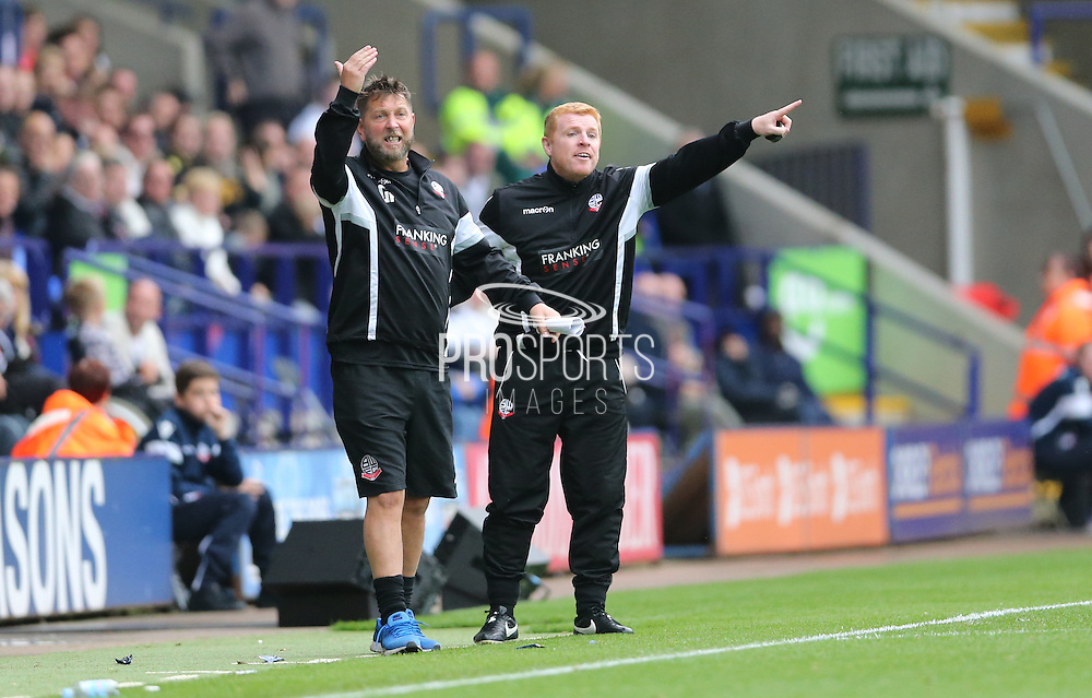 Bolton Wanderers First Team Manager Neil Lennon during the Sky Bet Championship match between Bolton Wanderers and Brighton and Hove Albion at the Macron Stadium, Bolton, England on 26 September 2015.