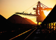 Coal stacker, Newcastle, Australia at sunset