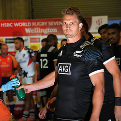 NZ's Scott Curry takes a last drink before running out for the final match against USA during the 2017 HSBC World Sevens Series Wellington day one at Westpac Stadium in Wellington, New Zealand on Saturday, 28 January 2017. Photo: Dave Lintott / lintottphoto.co.nz