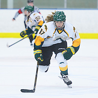 1st year forward Lilla Carpenter-Boesch (17) of the Regina Cougars in action during the Women's Hockey Game on November 25 at Co-operators arena. Credit: Arthur Ward/Arthur Images