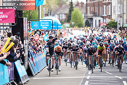 Kirsten Wild (NED) wins sprint ahead of Amalie Dideriksen (DEN) and Alice Barnes (GBR) at ASDA Tour de Yorkshire Women's Race 2018 - Stage 1, a 132.5 km road race from Beverley to Doncaster on May 3, 2018. Photo by Sean Robinson/Velofocus.com