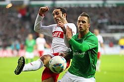 27.11.2011, Weser Stadion, Bremen, GER, 1.FBL, Werder Bremen vs VFB Stuttgart, im Bild Cristian Molinaro (VfB Stuttgart) im Zweikampf mit Marko Arnautovic (SV Werder Bremen) // during the Match GER, 1.FBL, Werder Bremen vs VFB Stuttgart, Weser Stadion, Bremen, Germany, on 2011/11/27EXPA Pictures © 2011, PhotoCredit: EXPA/ nph/ SielskiSielski..***** ATTENTION - OUT OF GER, CRO *****