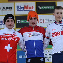 19-01-2020: Wielrennen: Wereldbeker Veldrijden: Nommay<br />Ryan Kamp wint in Nommay de werledbekerwedstrijd voor beloften voor Kevin Kuhn (Sui) en Thomas Mein (GBR)
