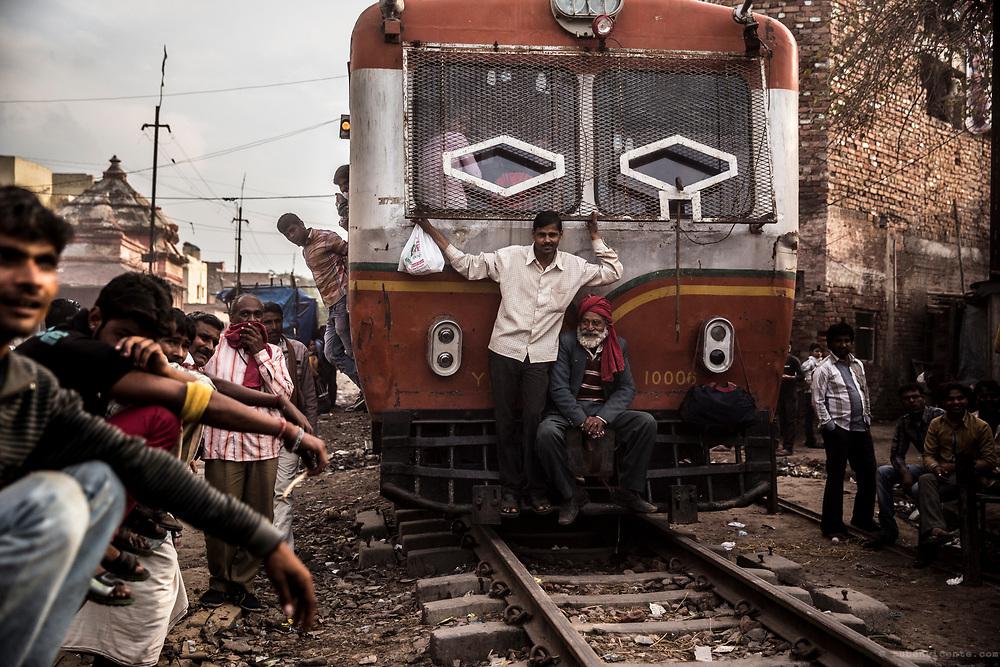 Approaching train at Mathura. India