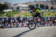 16 Boys #203 (SANTOS MEDEIROS DE QUEIROZ Pedro Vinicius) BRA at the 2018 UCI BMX World Championships in Baku, Azerbaijan.