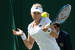 LONDON, ENGLAND - Saturday, July 2, 2016:  Ekaterina Makarova (RUS) during the Ladies' Single 3rd Round match on day six of the Wimbledon Lawn Tennis Championships at the All England Lawn Tennis and Croquet Club. (Pic by Kirsten Holst/Propaganda)