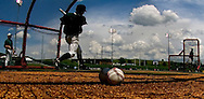 6/1/06 Lincoln, NE A Manhattan University  takes batting practice at Haymarket Park in Lincoln Ne Thursday afternoon.  They will play in the NCAA regional tournament for the first time  in almost 50 years.(Chris Machian/Prairie Pixel Group)