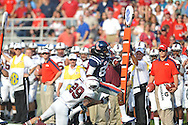 Mississippi's Ja-Mes Logan (85) is tackled by Southern Illinois' Boo Rodgers (29) at Vaught-Hemingway Stadium in Oxford, Miss. on Saturday, September 10, 2011. Ole Miss won 42-24.