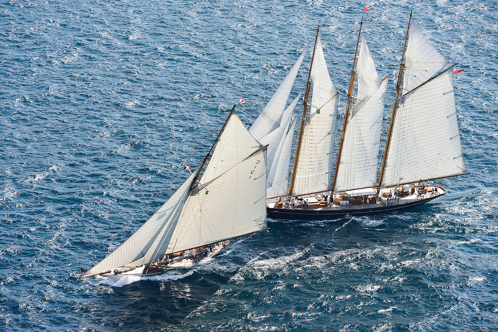 France Saint - Tropez October 2013, Classic yachts racing at the Voiles de Saint - Tropez<br /> <br /> C1,MARIQUITA,&quot;33,7&quot;,19M JI AURIQUE/1911,WILLIAM FIFE,<br /> <br /> CAG,SHENANDOAH OF SARK,54,GOELETTE AURIQUE/1902,T.E TERRIS
