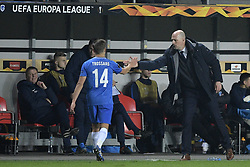 February 14, 2019 - Prague, CZECH REPUBLIC - Genk's Leandro Trossard and Genk's head coach Philippe Clement pictured during a soccer game between Czech club SK Slavia Praha and Belgian team KRC Genk, the first leg of the 1/16 finals (round of 32) in the Europa League competition, Thursday 14 February 2019 in Prague, Czech Republic. BELGA PHOTO YORICK JANSENS (Credit Image: © Yorick Jansens/Belga via ZUMA Press)