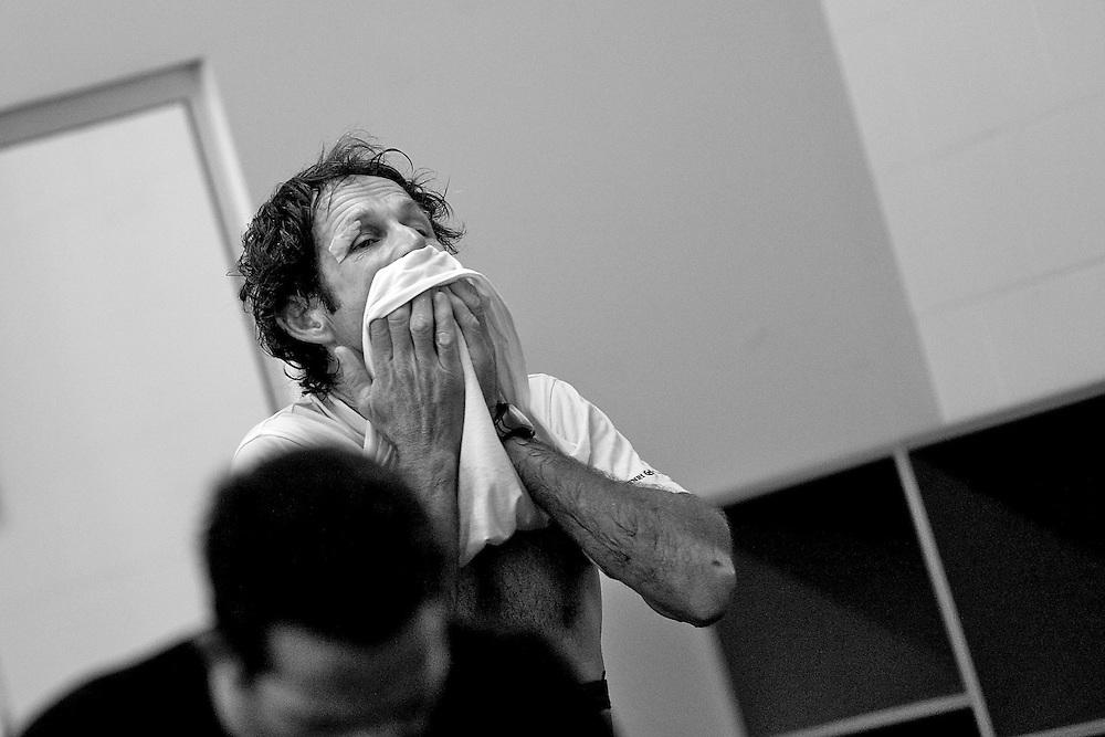 NEW ZEALAND, Auckland, 16th March 2010, Louis Vuitton Trophy, TEAMORIGIN gym session. Santiago Lange, Strategist/Traveller.