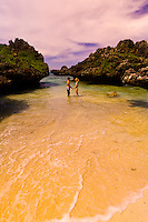 A honeymoon couple on a deserted island, Vatulele Island Resort, Fiji Islands