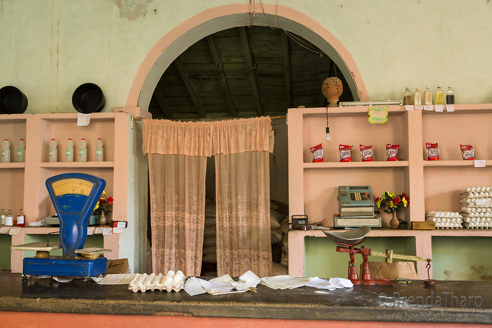 Cuba, Trinidad. A traditional ration store, with sparsley stocked shelves.