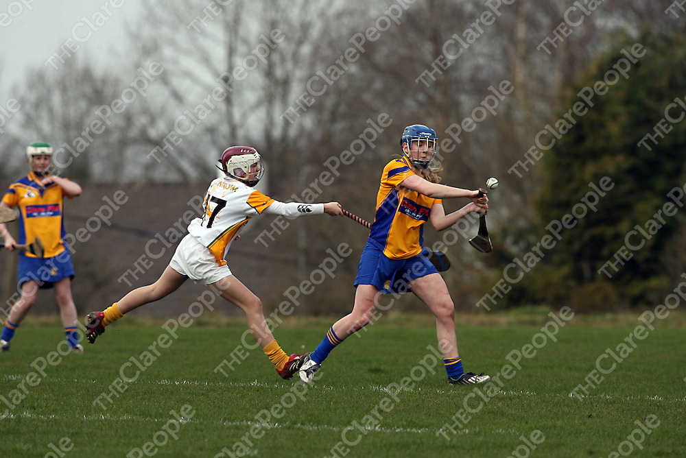 Antrim's Orlagh O' Hara tries to block the shot by Clare's Helen Hehir during their game in O' Callaghans Mills on Saturday.<br /> Photograph by Yvonne Vaughan