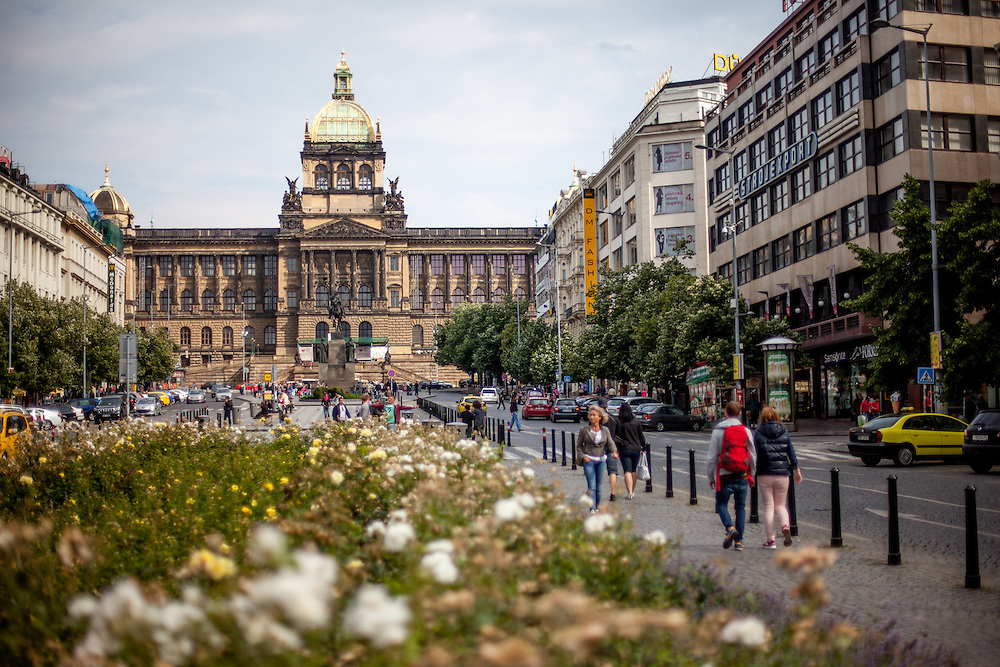 Prague Wenceslas Square with the National Museum (Narodni Muzeum) and the Statue of St. Wenceslas in the back.