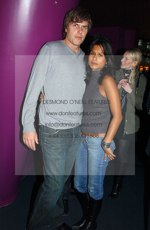 PRINCE KONRAD HAPSBURG and MISS ASHMITA GOSWAMI at a party hosted by Panerai and the Baglioni Hotel, 60 Hyde Park Gate, London on 6th December 2004.<br />