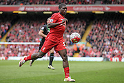 Sheyi Ojo (Liverpool) during the Barclays Premier League match between Liverpool and Stoke City at Anfield, Liverpool, England on 10 April 2016. Photo by Mark P Doherty.