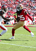 Nov 25, 2018; Tampa, FL, USA; San Francisco 49ers cornerback Richard Sherman (25) defends against the Tampa Bay Buccaneers at Raymond James Stadium. The Buccaneers beat the 49ers 27-9. (Steve Jacobson/Image of Sport)