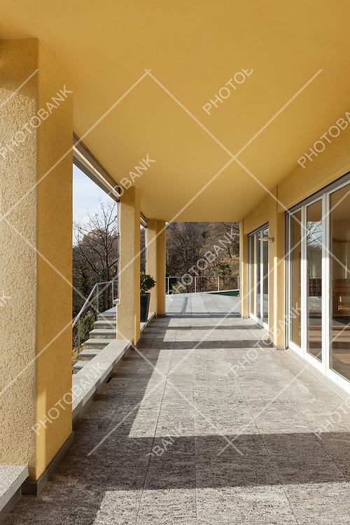 architecture, porch of a modern building, outdoor