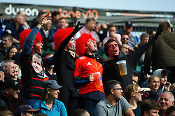 Toulouse fans in the crowd show their support - Mandatory byline: Patrick Khachfe/JMP - 07966 386802 - 13/10/2018 - RUGBY UNION - The Recreation Ground - Bath, England - Bath Rugby v Toulouse - Heineken Champions Cup