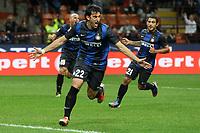 """Esultanza Diego Milito Inter<br /> Goal celebration<br /> Milano 30/09/2012 Stadio """"San Siro""""<br /> Football Calcio Serie A 2012/13<br /> Inter v Fiorentina<br /> Foto Insidefoto Paolo Nucci"""