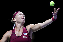 October 27, 2018 - Singapore - Kiki Bertens of the Netherlands serves during the semi final match between Elina Svitolina and Kiki Bertens on day 7 of the WTA Finals at the Singapore Indoor Stadium. (Credit Image: © Paul Miller/ZUMA Wire)