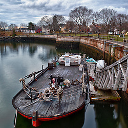 A gundalow docked at Prescott Park in Portsmouth, New Hampshire. hdr