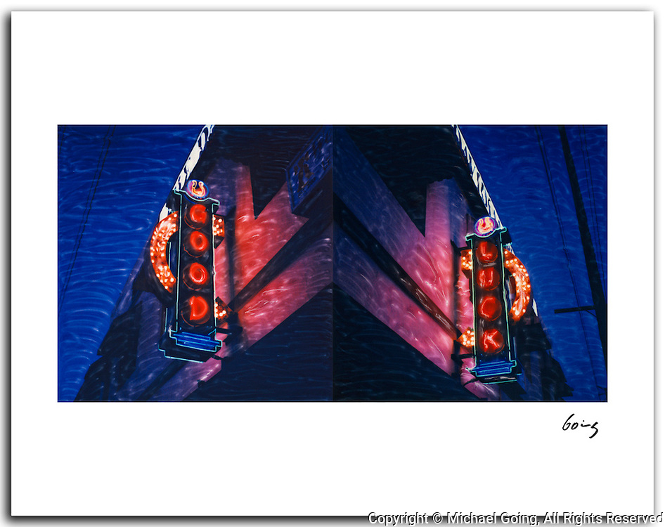 Good Luck Diptych, Los Angeles 2004. 11x14 signed archival pigment print free shipping USA. Altered Polaroid SX-70 photographs of the sign good and the sign luck of the Good Luck Bar in the Los Feliz area of Los Angeles.
