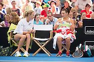 Alicia Molik (AUS) and Casey Dellacqua (AUS), April 19, 2014 - TENNIS : Fed Cup, Semi-Final, Australia v Germany. Pat Rafter Arena, Brisbane, Queensland, Australia. Credit: Lucas Wroe