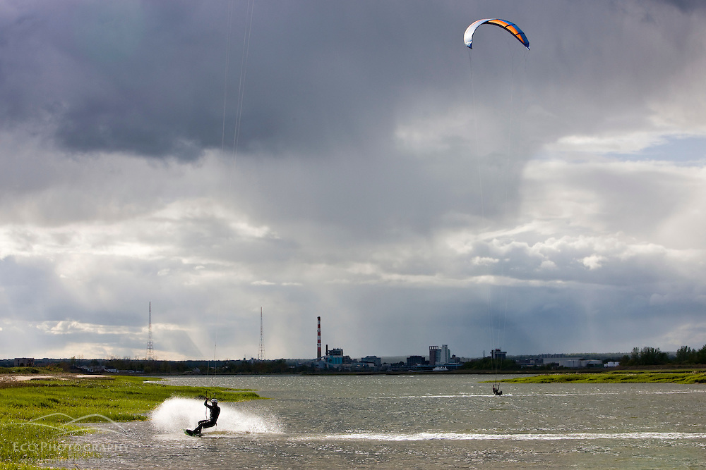 Kite surfing on the salt marsh side of Long Beach in Stratford, Connecticut.  This body of water is known as Lewis Gut and is adjacent to the Great Meadows Unit of McKinney National Wildlife Refuge.