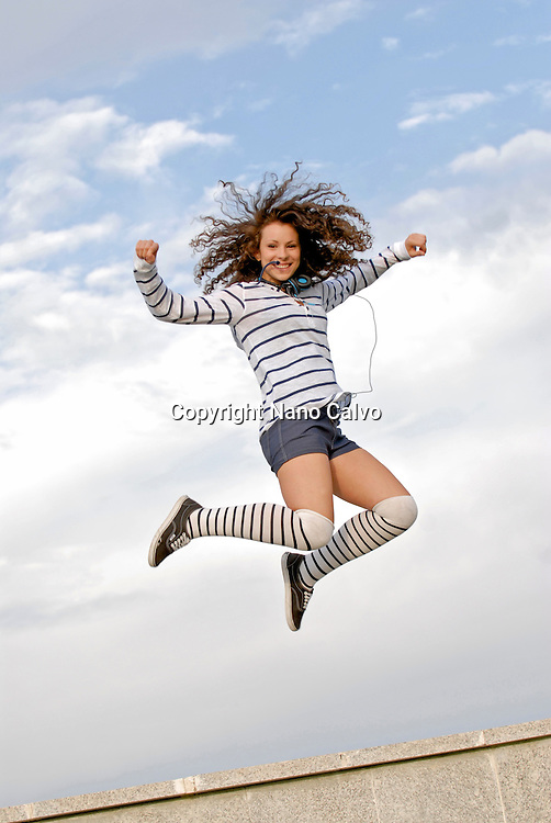 Cute teen jumps high