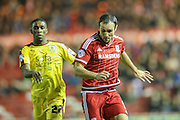 Middlesbrough forward Kike  chased by Burnley defender Tendayi Darikwa  during the Sky Bet Championship match between Middlesbrough and Burnley at the Riverside Stadium, Middlesbrough, England on 15 December 2015. Photo by Simon Davies.