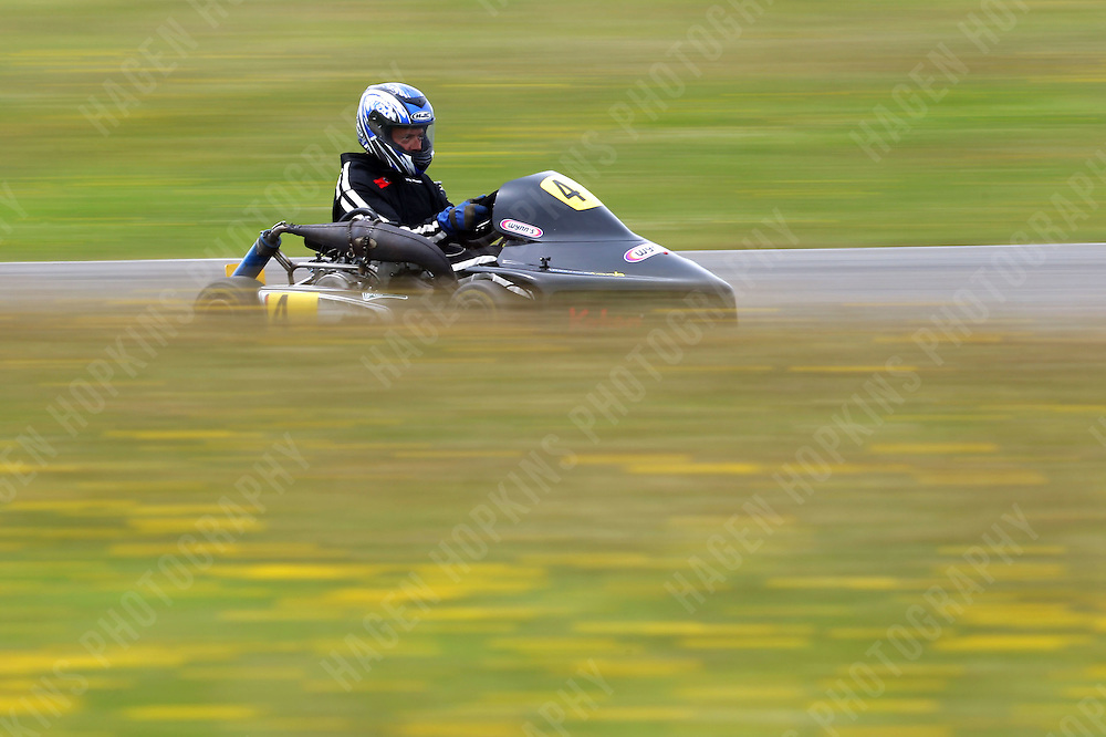 Steve Wilson, 4, races in the National Superkarts class during the 2012 Superkart National Champs and Grand Prix at Manfeild in Feilding, New Zealand on Saturday, 7 January 2011. Credit: Hagen Hopkins.