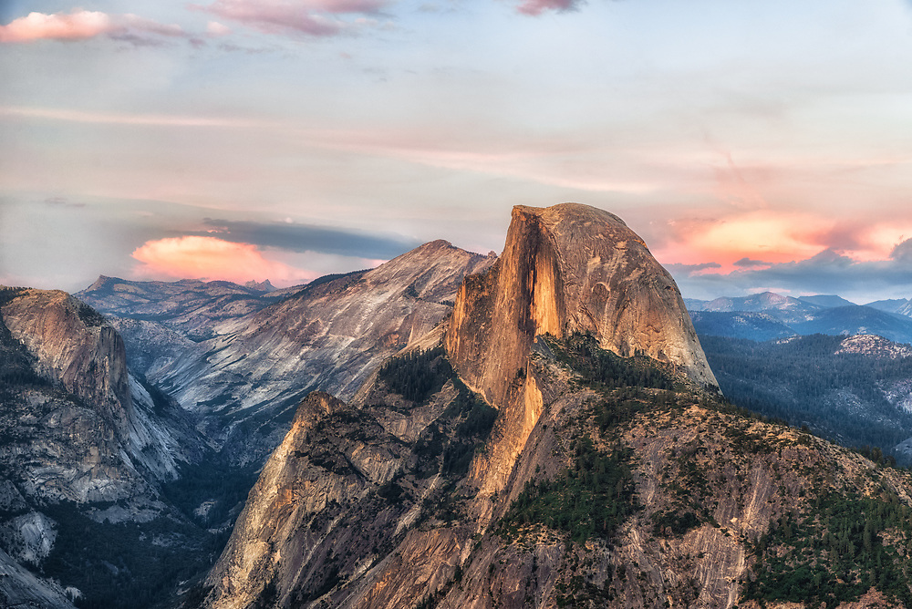 A sunset shot of Half Dome in Yosemite.<br />