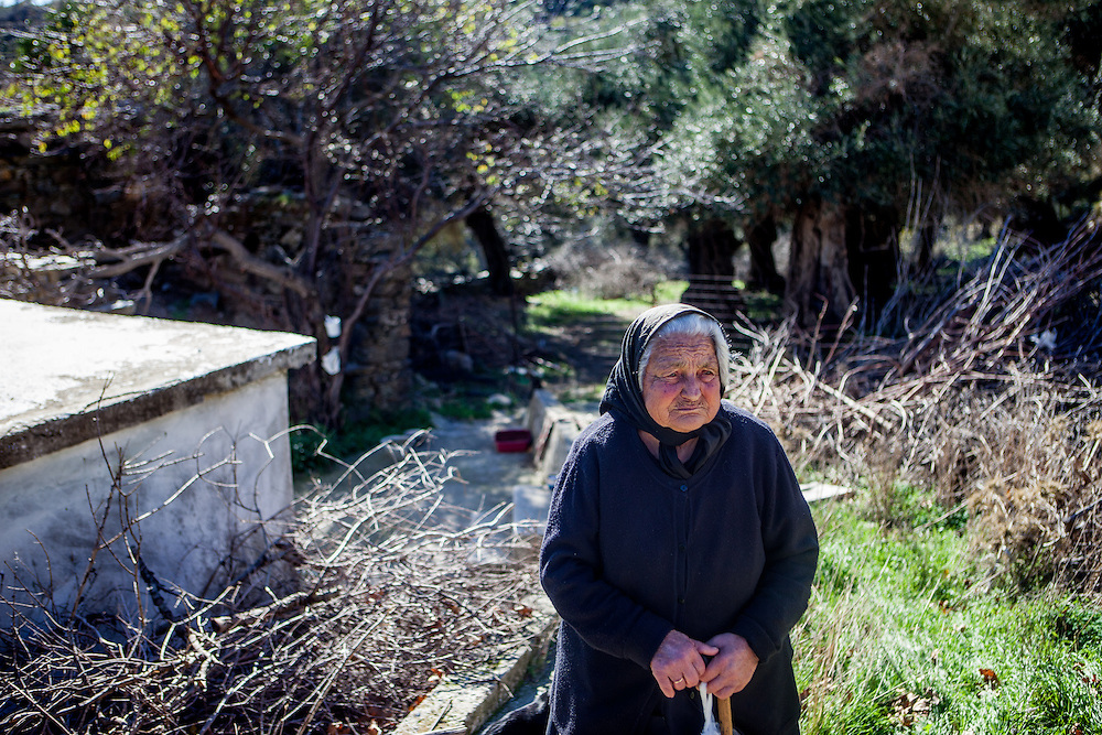 Panagiota (86) who is living with her sister in the small Crete mountain village of Rodovani on the Greek island of Crete.
