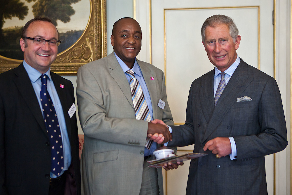 HRH The Prince of Wales with Andrew Tanswell and George Gitau of ToughStuff International