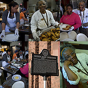 """Sister Jean Webster and kitchen volunteers preparing and serving food for the homeless.<br /> <br /> A former casino chef, Webster, 74, found her calling when she saw a man rummaging through a garbage can in search of food. Now she runs a soup kitchen that feeds up to 400 homeless people a day, five days a week in the dinning room of the First Presbyterian Church of Atlantic City. <br /> <br /> No one is turned away. Jean has been called """"Sister Jean"""" or """"Saint Jean"""" or """"the Mother Teresa of Jersey."""" She also offers employment counseling and a program designed for transitional housing.<br /> <br /> Sister Jeans Kitchen - GOR-712340-09<br /> Sister Jeans Kitchen - GOR-71234-09<br /> Sister Jeans Kitchen - GOR-71231-09<br /> Sister Jeans Kitchen - GOR-71238-09<br /> Sister Jean Webster Plaque - GOR-85028-11<br /> Sister Jeans Kitchen - GOR-71241-09"""