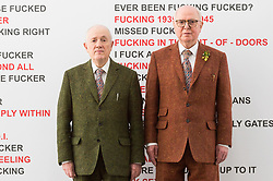 © Licensed to London News Pictures. 21/11/2017. London, UK. Artists  GILBERT PROUSCH and GEORGE PASSMORE otherwise known as GILBERT and GEORGE attend their exhibition 'The Beard Pictures and Their Fuckosophy showing at the White Cube gallery. Photo credit: Ray Tang/LNP