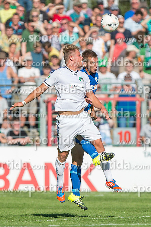 09.08.2015, Stadion Lohmühle, Luebeck, GER, DFB Pokal, VfB Luebeck vs SC Paderborn 07, 1. Runde, im Bild Christopher Kramer (Nr. 7, VfB Luebeck) gegen Uwe Huenemeier (Nr. 2, SC Paderborn) // during German DFB Pokal first round match between VfB Luebeck vs SC Paderborn 07 at the Stadion Lohmühle in Luebeck, Germany on 2015/08/09. EXPA Pictures © 2015, PhotoCredit: EXPA/ Eibner-Pressefoto/ KOENIG<br /> <br /> *****ATTENTION - OUT of GER*****