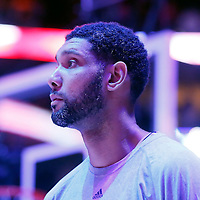 10 November 2014: San Antonio Spurs forward Tim Duncan (21) is seen during the national anthem prior to the San Antonio Spurs 89-85 victory over the Los Angeles Clippers, at the Staples Center, Los Angeles, California, USA.