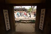 Korean Folk Village. Traditional hanok houses. School kids visiting.