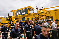 GIOIA TAURO, ITALY - 13 JUNE 2018:  Workers are seen here by locomotives under maintenance at Gruppo Ventura,  a family-owned company that installs railroad tracks and does locomotives maintenance,  in Gioia Tauro, Italy, on June 13th 2018.<br /> <br /> Alessandro Ventura, CFO of Gruppo Ventura, traveled there some 20 times over the last three years, establishing a venture with an Iranian company engaged in expanding the national rail network. In March 2017, he signed a 2 million euro contract (about $2.3 million) to service a section of rail outside Teheran.<br /> He shipped two locomotives used to tamp down the rocks below railroad tracks. They went out on a freighter from Gioia Tauro, a port on the Tyrrhenian Sea that has long been notorious as a Mafia-run conduit for cocaine trafficking.<br /> Last August, Mr. Ventura stood at the Iranian port of Bandar Abbas in 122 degree heat, watching a crane hoist the locomotives onto the docks.<br /> Now, those machines are effectively marooned, the business halted. Gruppo Ventura has lost appetite for adventurous expansion.<br /> <br /> Once the Obama administration struck the nuclear deal with Iran three years ago, Italy saw a chance. Last year, Italy exported more than 1.7 billion euros (nearly $2 billion) worth of goods to Iran. Then, President Trump withdrew the United States from the Iran deal and vowed to reinstate sanctions, dealing a blow to companies across Europe — especially those from Italy, Germany and France.