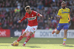 Middlesbrough's Lewis Wing shoots during the Sky Bet Championship match at The Riverside Stadium, Middlesbrough.