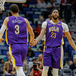 Feb 5, 2018; New Orleans, LA, USA; New Orleans Pelicans forward Nikola Mirotic (3) and forward Anthony Davis (23) against the Utah Jazz during the first quarter at the Smoothie King Center. Mandatory Credit: Derick E. Hingle-USA TODAY Sports