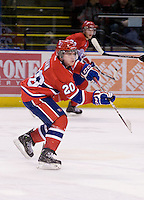 KELOWNA, CANADA, DECEMBER 27: Steve Kuhn #20 of the Spokane Chiefs skates on the ice at the Kelowna Rockets on December 7, 2011 at Prospera Place in Kelowna, British Columbia, Canada (Photo by Marissa Baecker/Getty Images) *** Local Caption ***