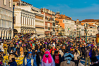 Massive crowds attend the Venice Carnival (Carnevale di Venezia), Venice, Italy.