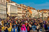Massive crowds attend the Venice Carnival (Carnevale di Venezia), Venice, Italy.