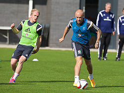 NEWPORT, WALES - Wednesday, October 8, 2014: Wales' David Cotterill training at Dragon Park National Football Development Centre ahead of the UEFA Euro 2016 qualifying match against Bosnia and Herzegovina. (Pic by David Rawcliffe/Propaganda)