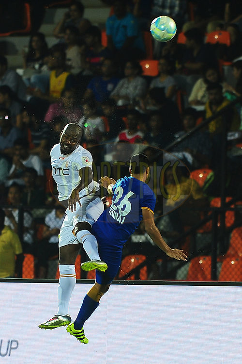 Romaric of NorthEast United FC and Sehnaj Singh of Mumbai City FC  during match 7 of the Indian Super League (ISL) season 3 between Mumbai City FC and NorthEast United FC held at the Mumbai Football Arena in Mumbai, India on the 7th October 2016.<br /> <br /> Photo by Faheem Hussain / ISL/ SPORTZPICS