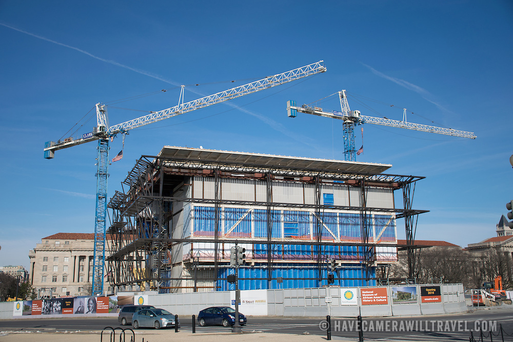 The progress of construction of the Smithsonian African American Museum as of January 2015. The museum is located on the National Mall, near the Washington Monument, and is scheduled to open in 2016.